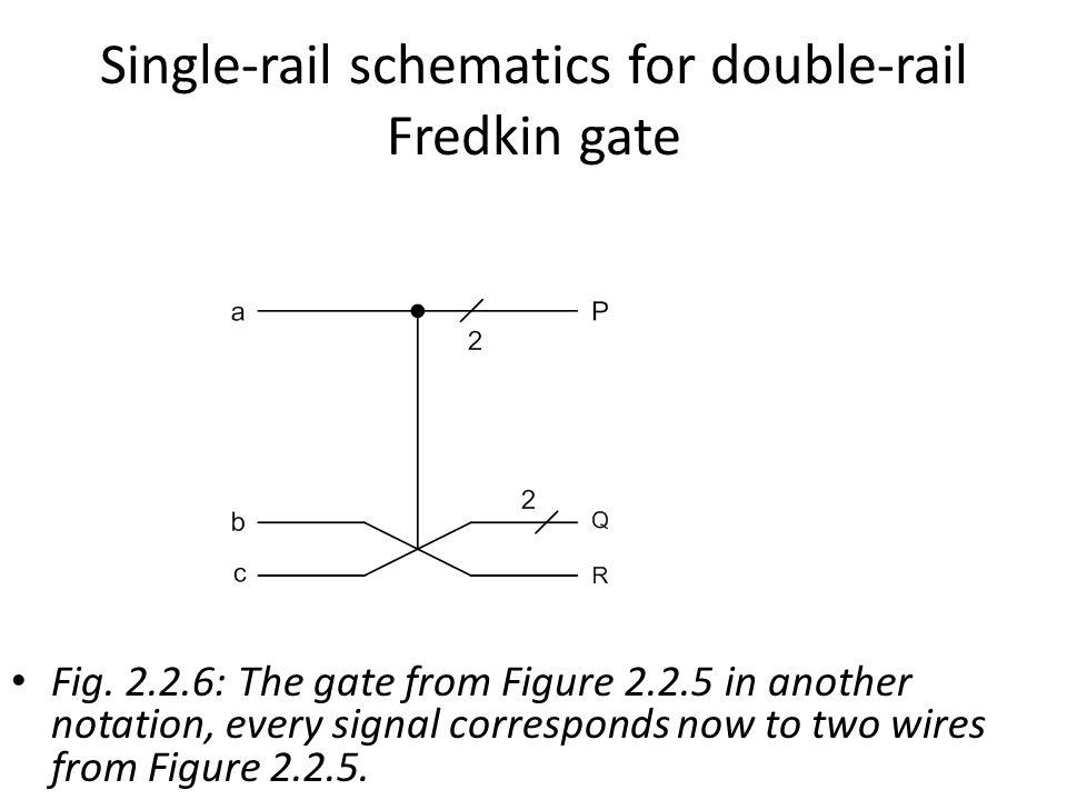 Single-rail schematics for double-rail Fredkin gate