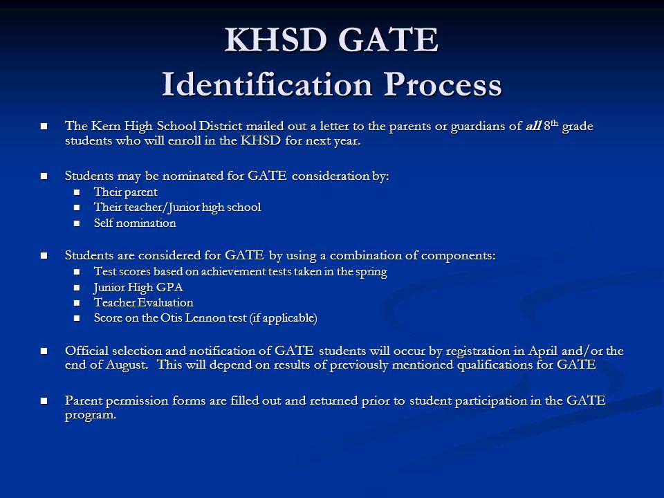 KHSD GATE Identification Process