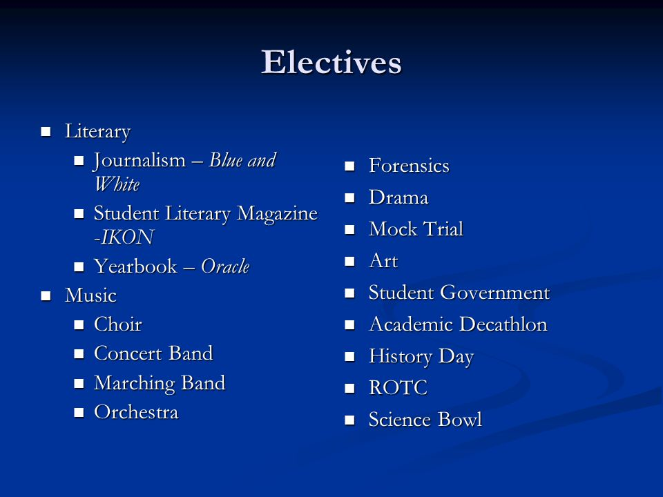 Electives Literary Journalism – Blue and White