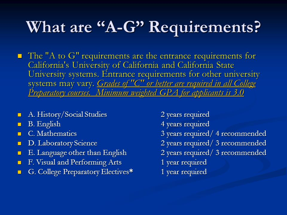 What are A-G Requirements
