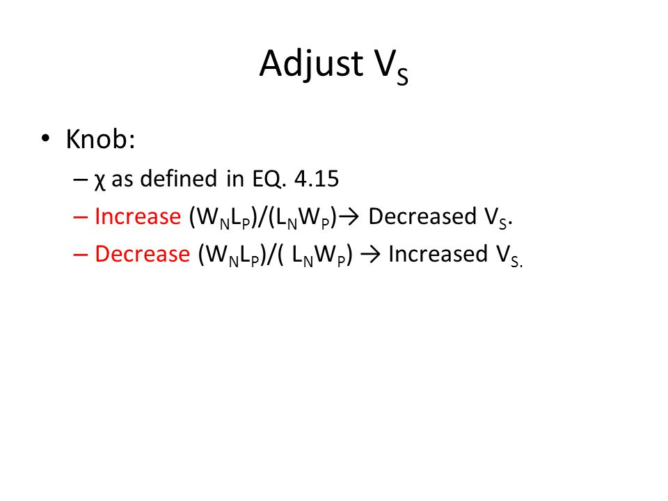 Adjust VS Knob: χ as defined in EQ. 4.15