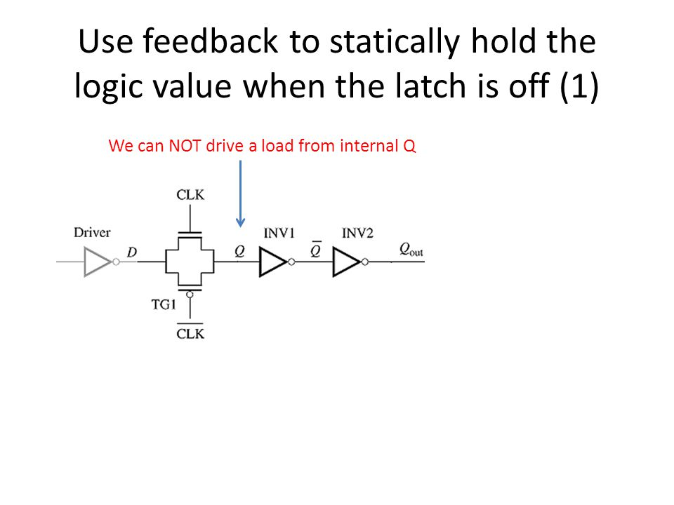 Use feedback to statically hold the logic value when the latch is off (1)