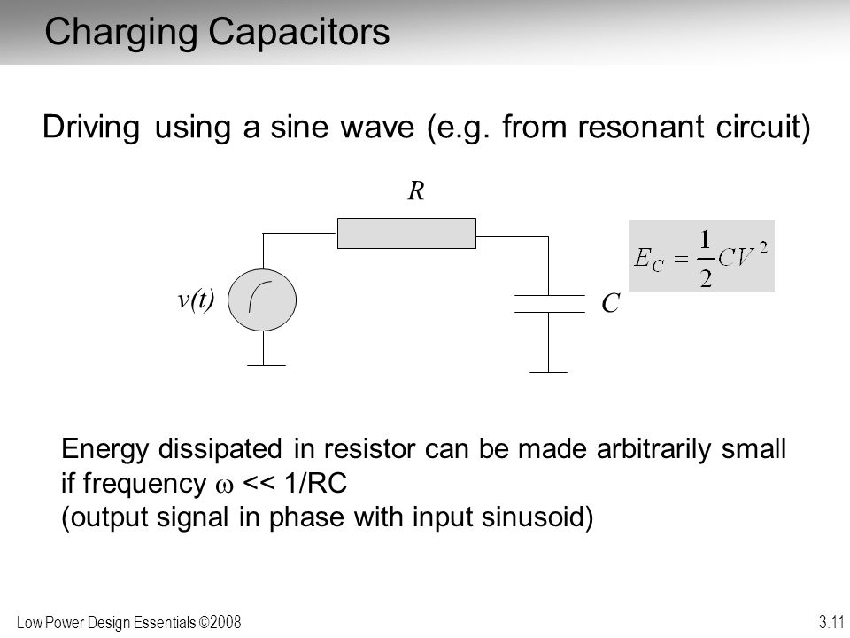 Charging Capacitors Driving using a sine wave (e.g. from resonant circuit) R. v(t) C.