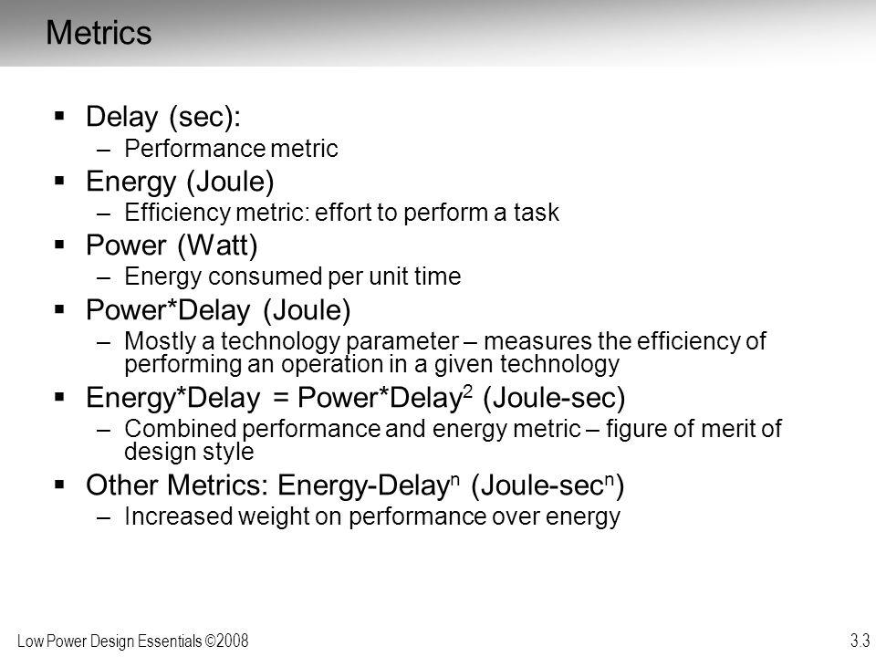 Metrics Delay (sec): Energy (Joule) Power (Watt) Power*Delay (Joule)