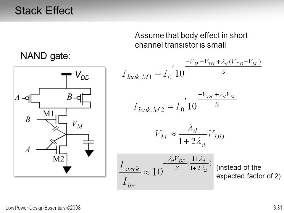 Stack Effect NAND gate: VDD