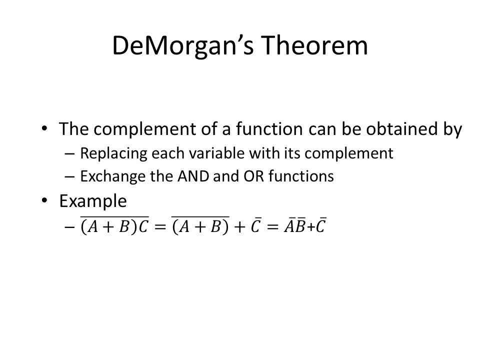 DeMorgan's Theorem The complement of a function can be obtained by