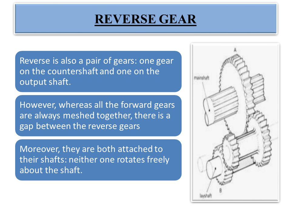 REVERSE GEAR Reverse is also a pair of gears: one gear on the countershaft and one on the output shaft.