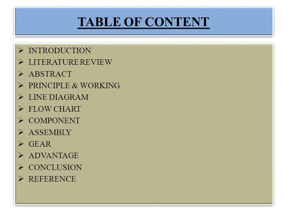 TABLE OF CONTENT INTRODUCTION LITERATURE REVIEW ABSTRACT