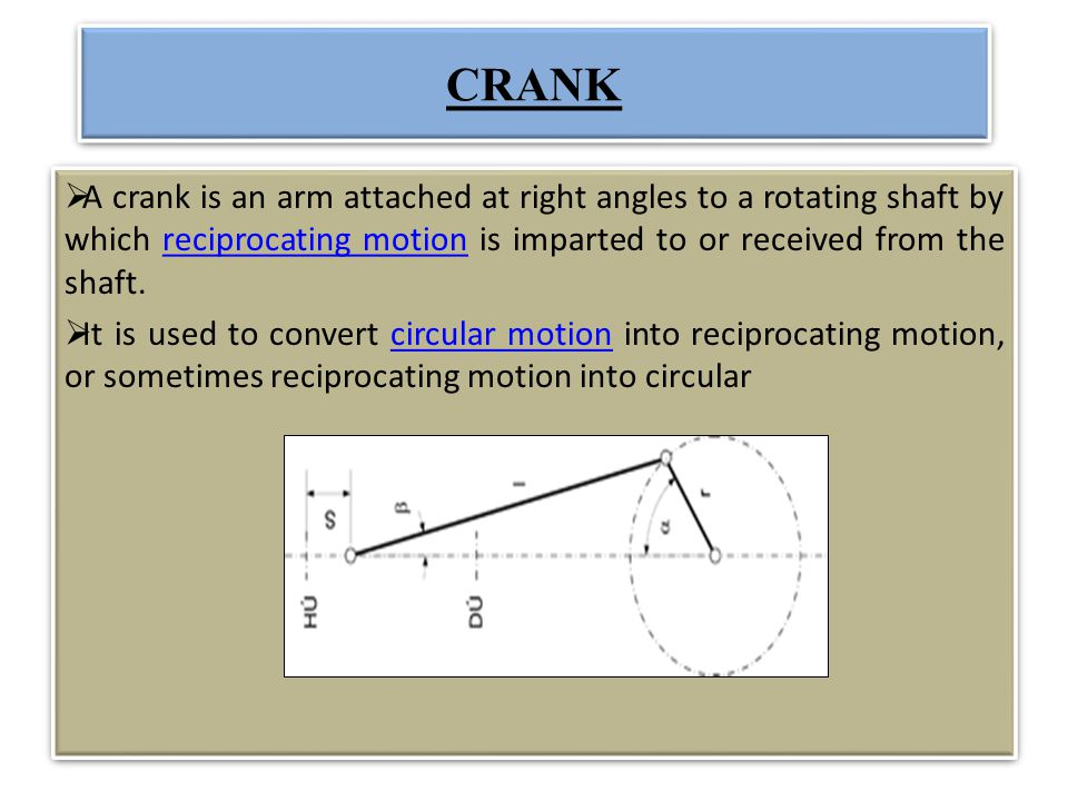 CRANK A crank is an arm attached at right angles to a rotating shaft by which reciprocating motion is imparted to or received from the shaft.