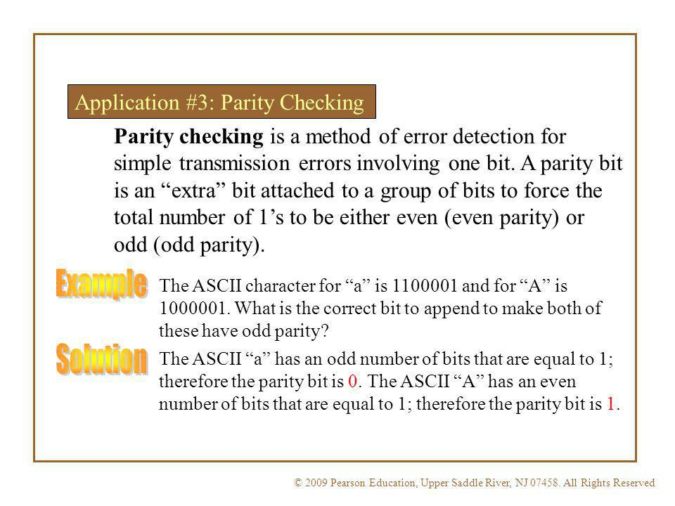 Example Solution Application #3: Parity Checking