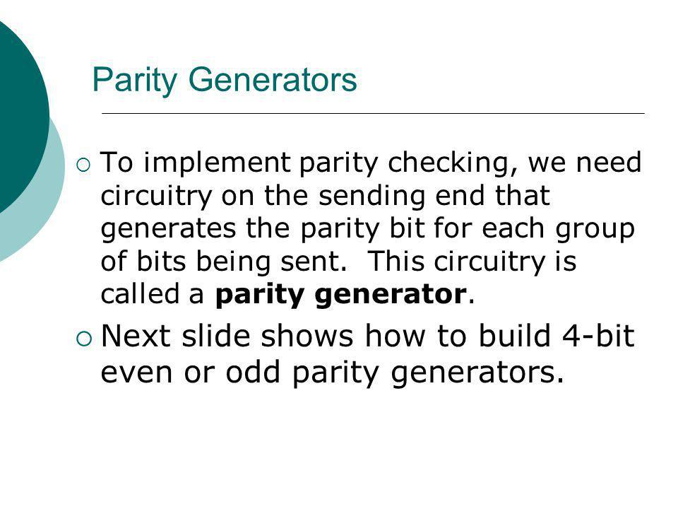 Parity Generators