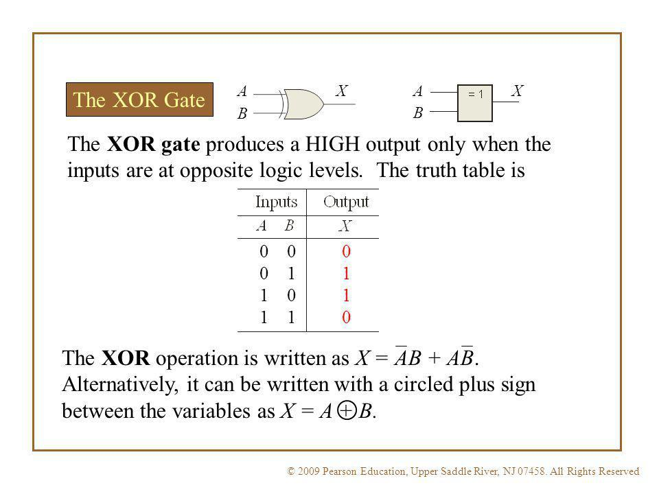 A X. A. X. The XOR Gate. B. B. The XOR gate produces a HIGH output only when the inputs are at opposite logic levels. The truth table is.