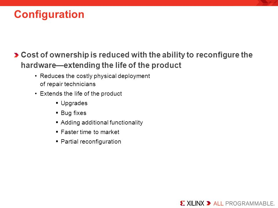 Configuration Cost of ownership is reduced with the ability to reconfigure the hardware—extending the life of the product.