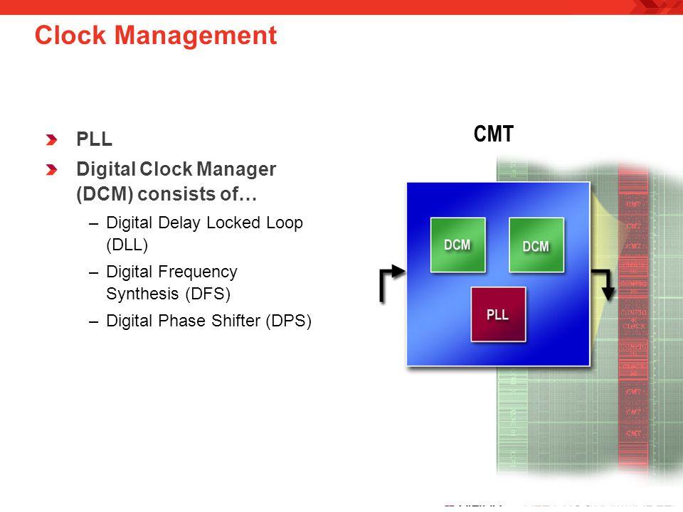 Clock Management CMT PLL Digital Clock Manager (DCM) consists of…
