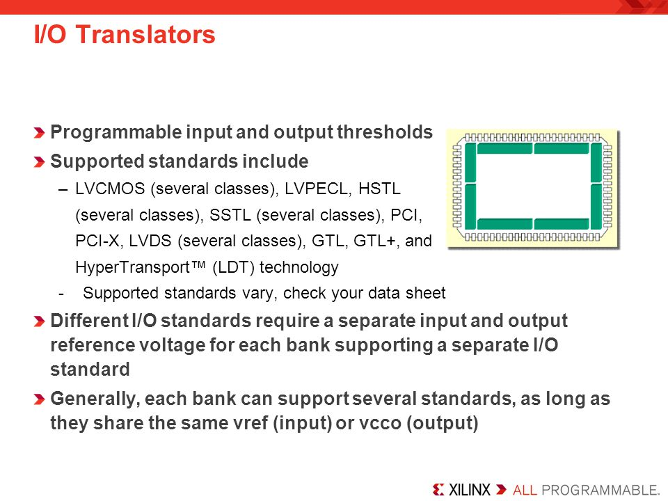 I/O Translators Programmable input and output thresholds