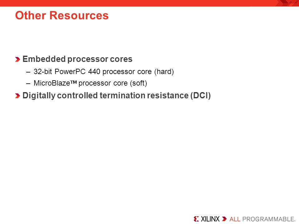 Other Resources Embedded processor cores