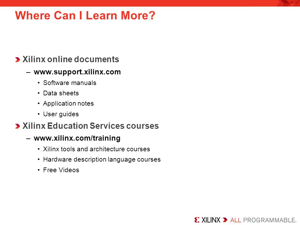 Where Can I Learn More Xilinx online documents