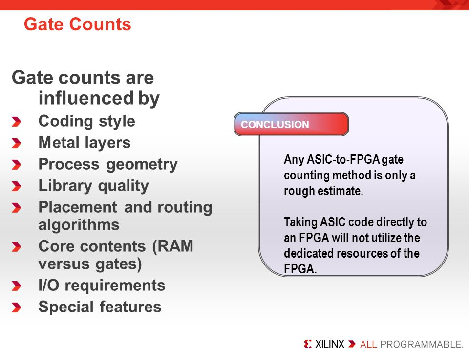 Gate counts are influenced by