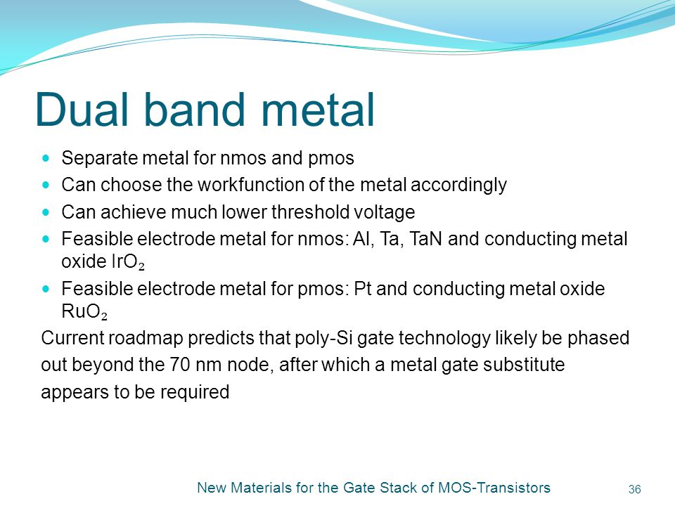 Dual band metal Separate metal for nmos and pmos
