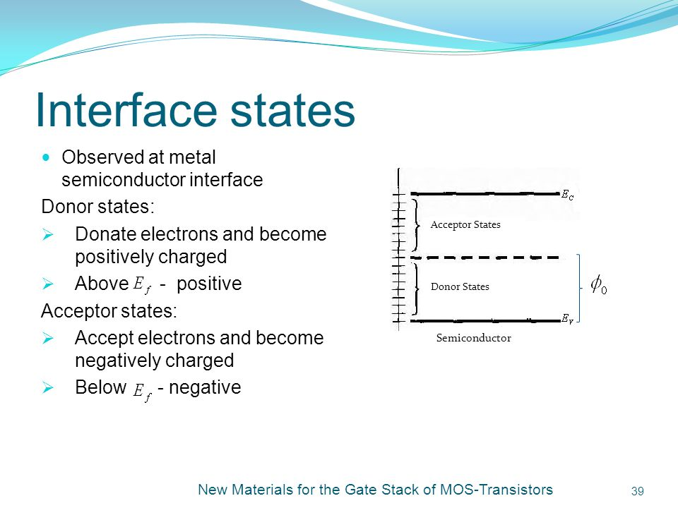 Interface states Observed at metal semiconductor interface
