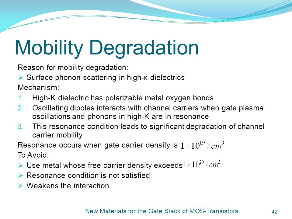 Mobility Degradation Reason for mobility degradation: