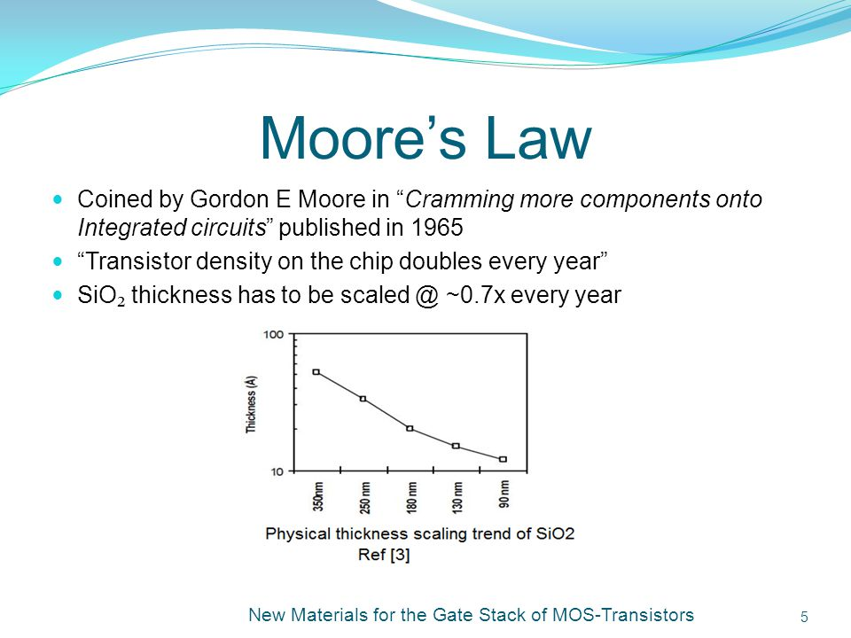 Ashesh Jain Moore's Law. Coined by Gordon E Moore in Cramming more components onto Integrated circuits published in