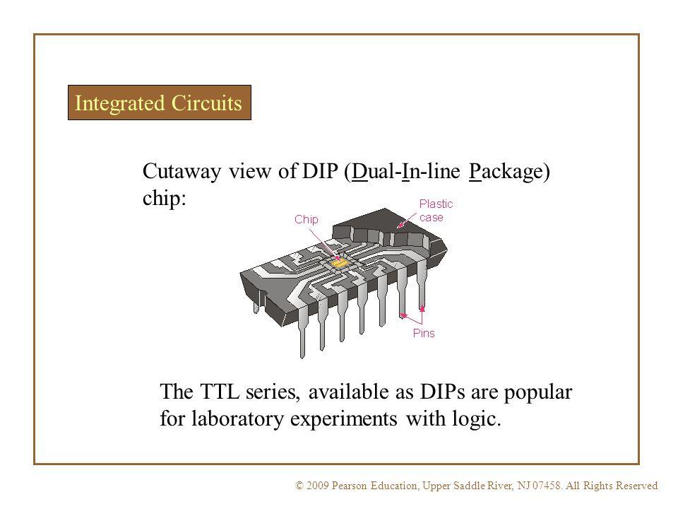 Cutaway view of DIP (Dual-In-line Package) chip: