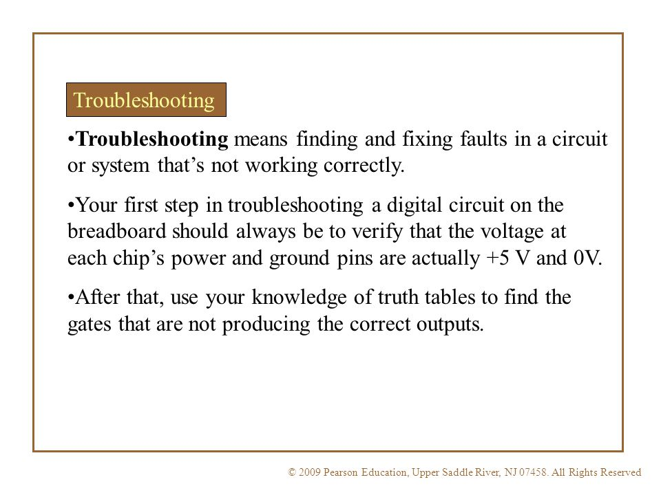Troubleshooting Troubleshooting means finding and fixing faults in a circuit or system that's not working correctly.