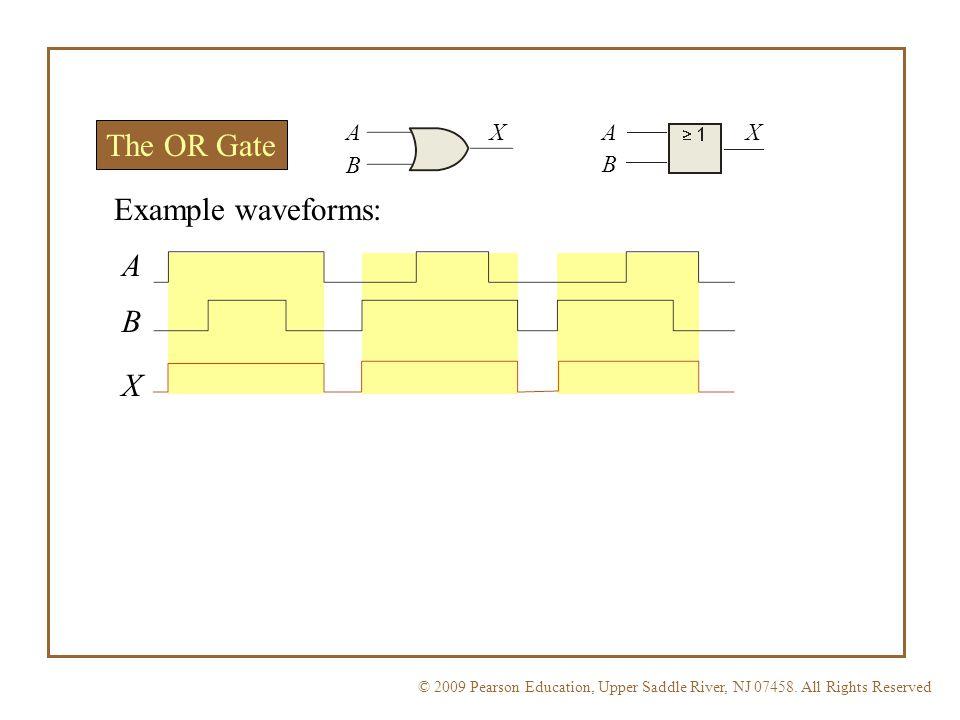 A X A X The OR Gate B B Example waveforms: A B X