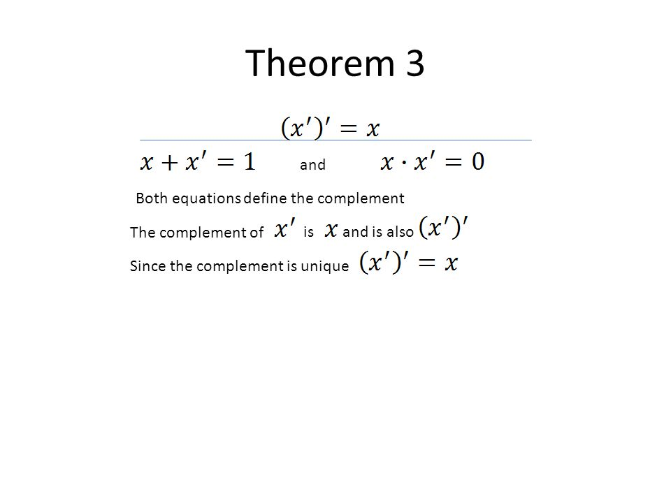 Theorem 3 and Both equations define the complement The complement of