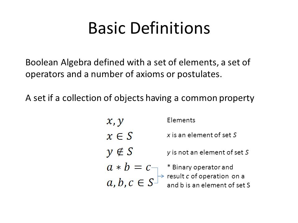 Basic Definitions Boolean Algebra defined with a set of elements, a set of operators and a number of axioms or postulates.