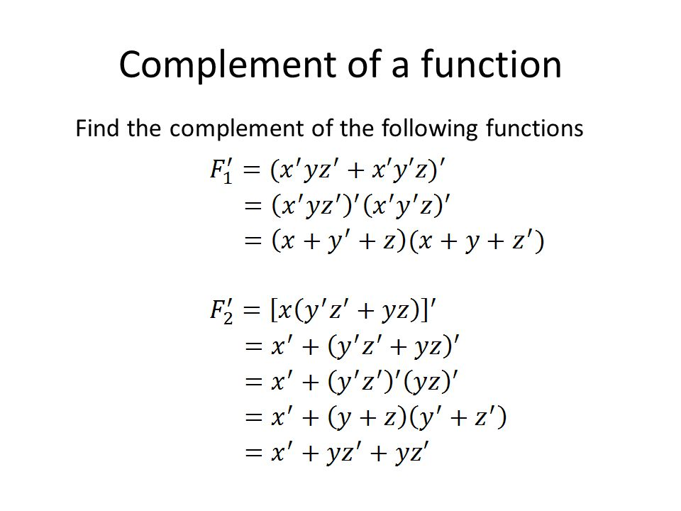 Complement of a function