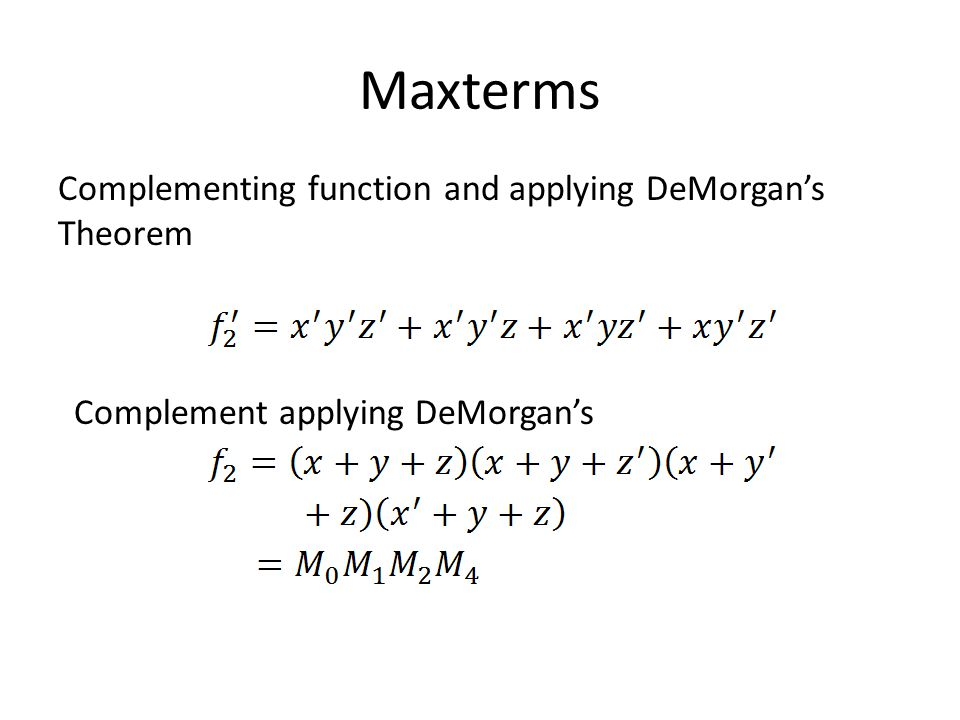 Maxterms Complementing function and applying DeMorgan's Theorem