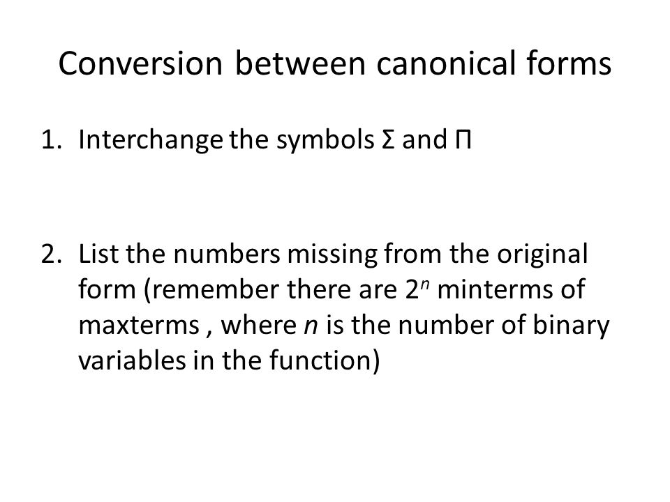 Conversion between canonical forms