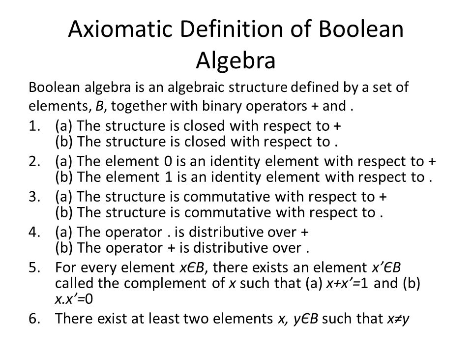 Axiomatic Definition of Boolean Algebra