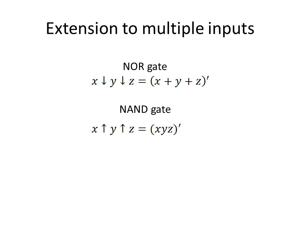 Extension to multiple inputs