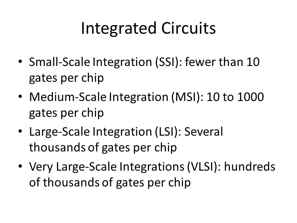 Integrated Circuits Small-Scale Integration (SSI): fewer than 10 gates per chip. Medium-Scale Integration (MSI): 10 to 1000 gates per chip.