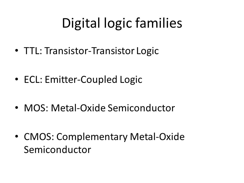 Digital logic families