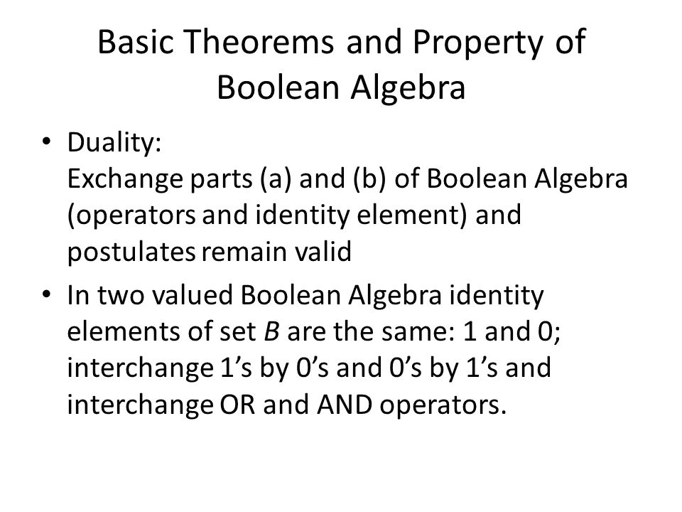 Basic Theorems and Property of Boolean Algebra