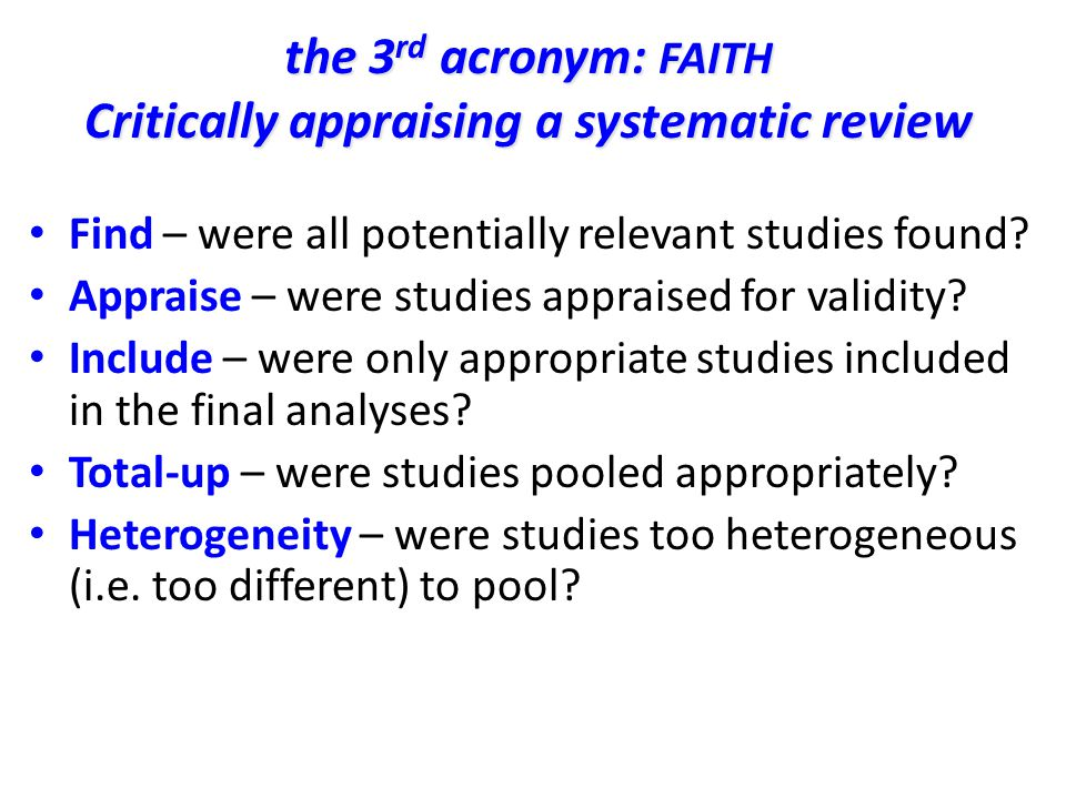 Critically appraising a systematic review