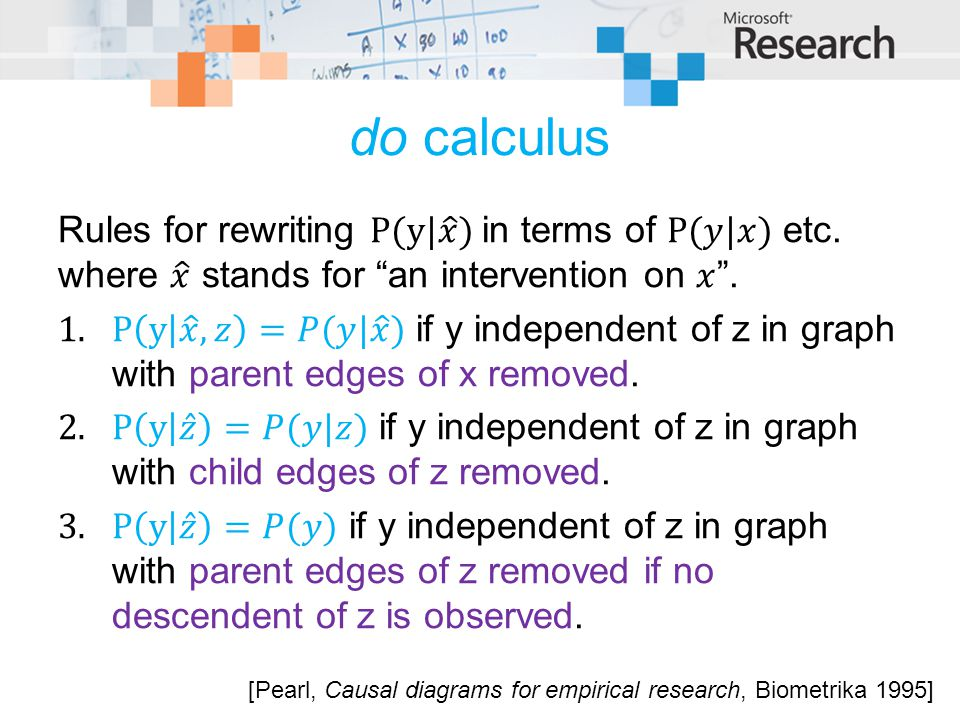 do calculus Rules for rewriting P(y| 𝑥 ) in terms of P(𝑦|𝑥) etc. where 𝑥 stands for an intervention on 𝑥 .