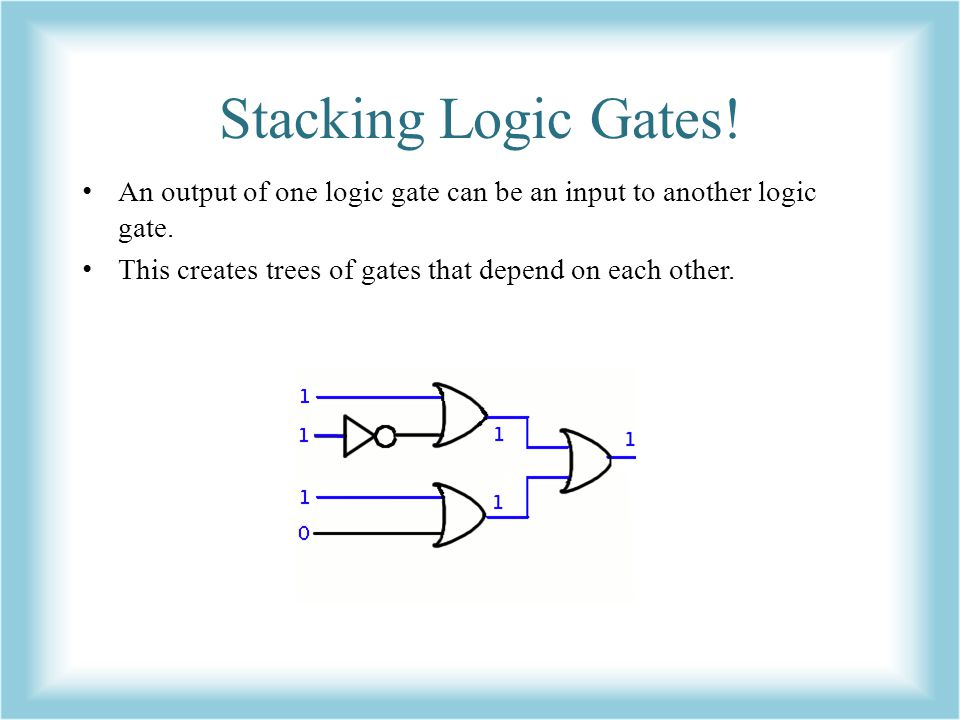 Stacking Logic Gates. An output of one logic gate can be an input to another logic gate.