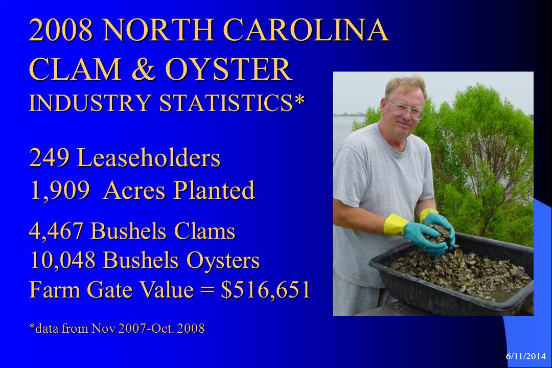 2008 NORTH CAROLINA CLAM & OYSTER INDUSTRY STATISTICS*