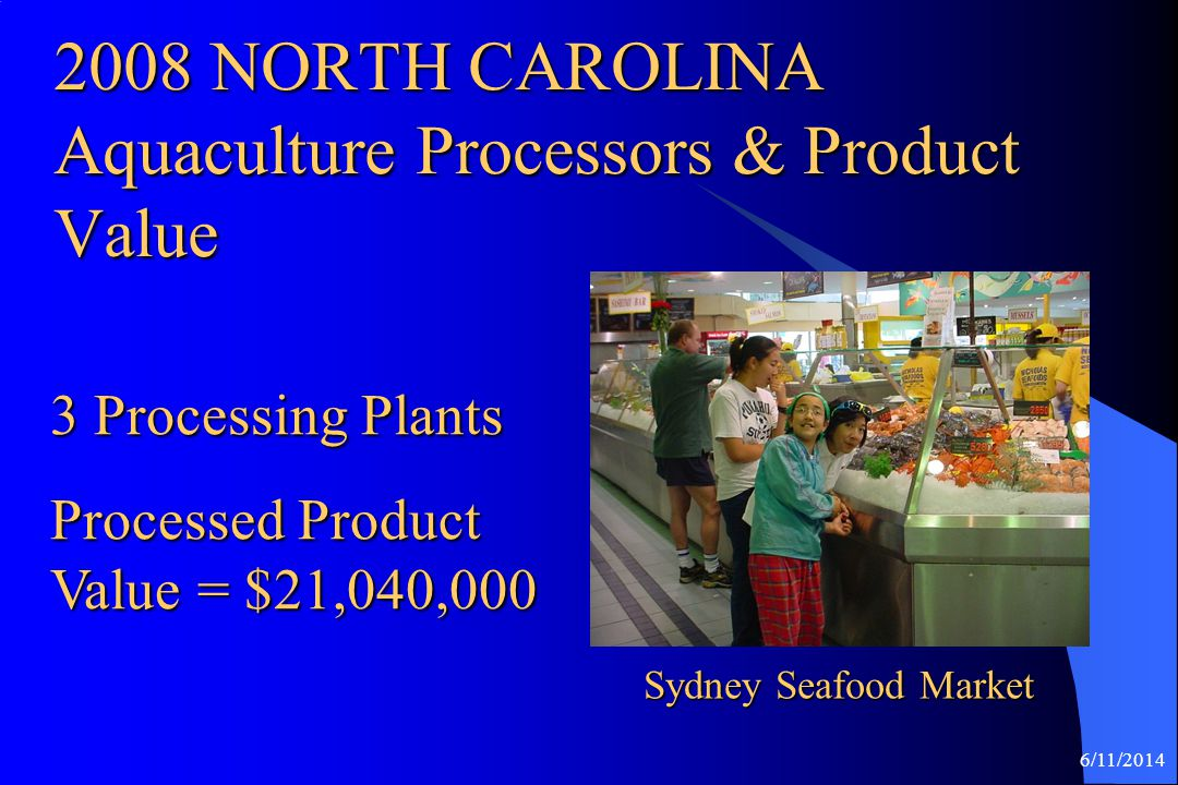 2008 NORTH CAROLINA Aquaculture Processors & Product Value