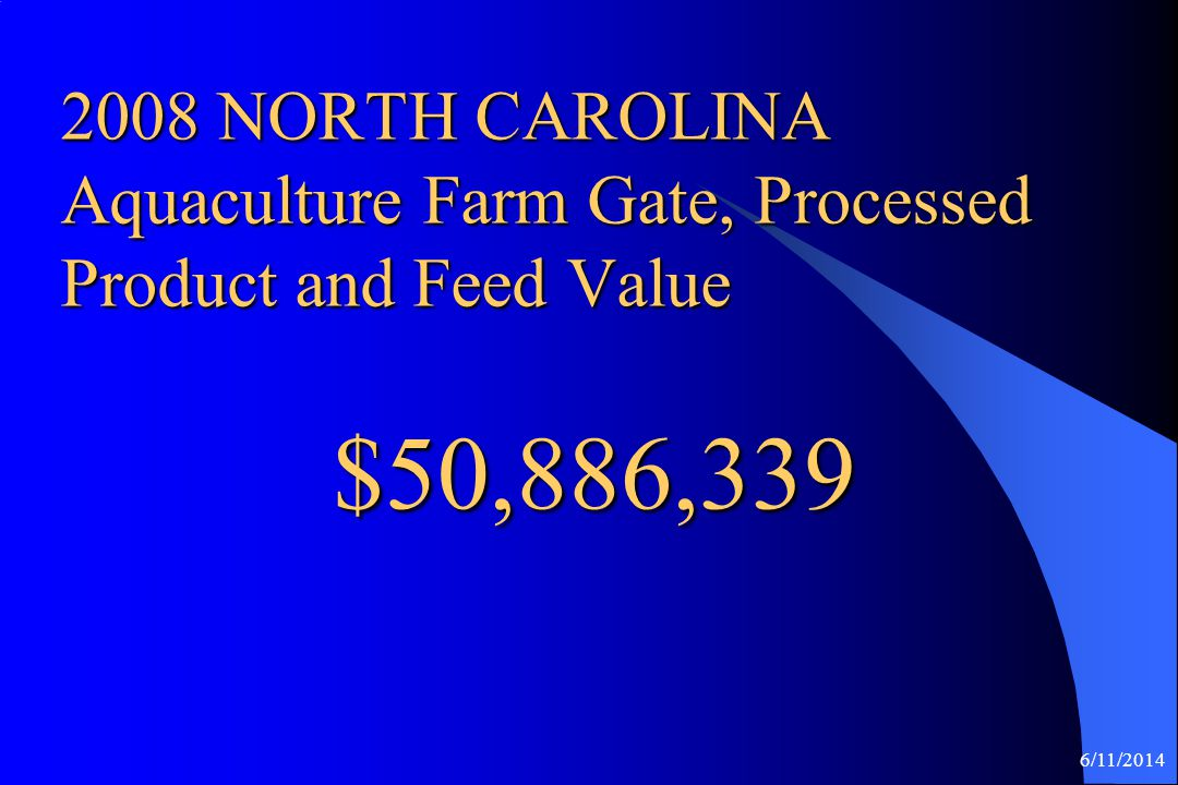 2008 NORTH CAROLINA Aquaculture Farm Gate, Processed Product and Feed Value