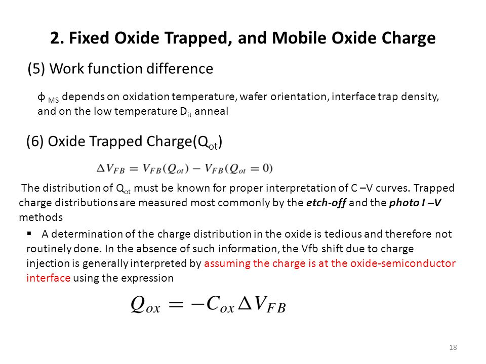 2. Fixed Oxide Trapped, and Mobile Oxide Charge