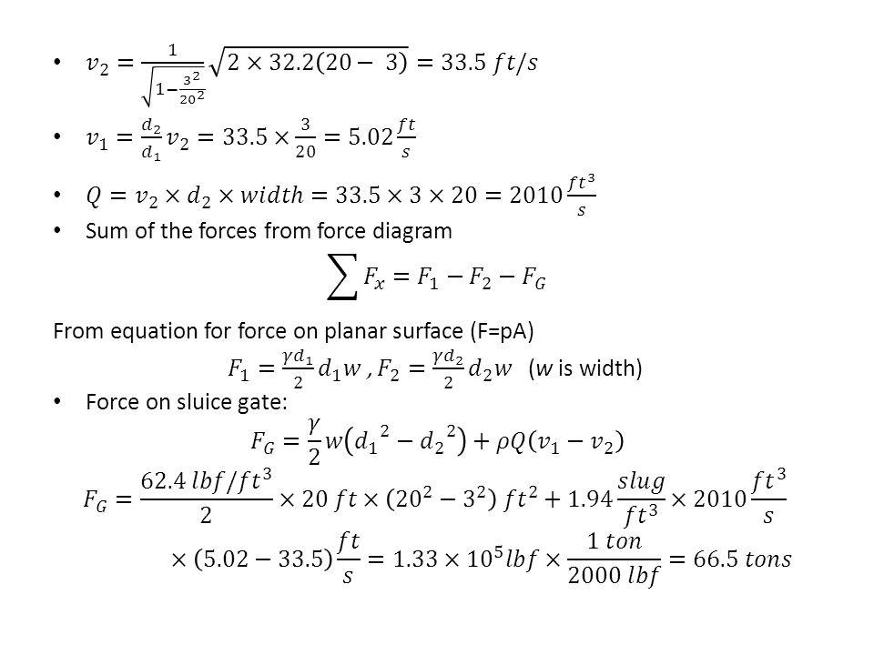 𝑣 2 = 1 1− 3 2 20 2 2×32.2 20− 3 =33.5 𝑓𝑡/𝑠 𝑣 1 = 𝑑 2 𝑑 1 𝑣 2 =33.5× 3 20 =5.02 𝑓𝑡 𝑠.