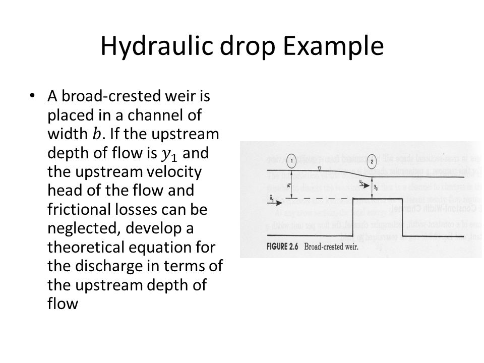 Hydraulic drop Example