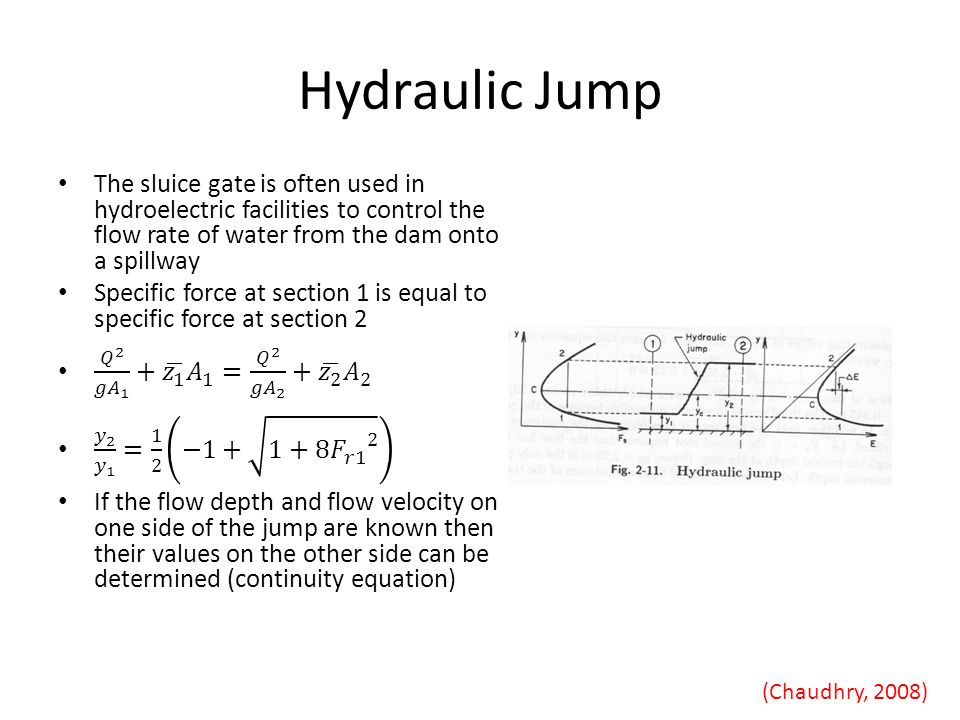 Hydraulic Jump The sluice gate is often used in hydroelectric facilities to control the flow rate of water from the dam onto a spillway.