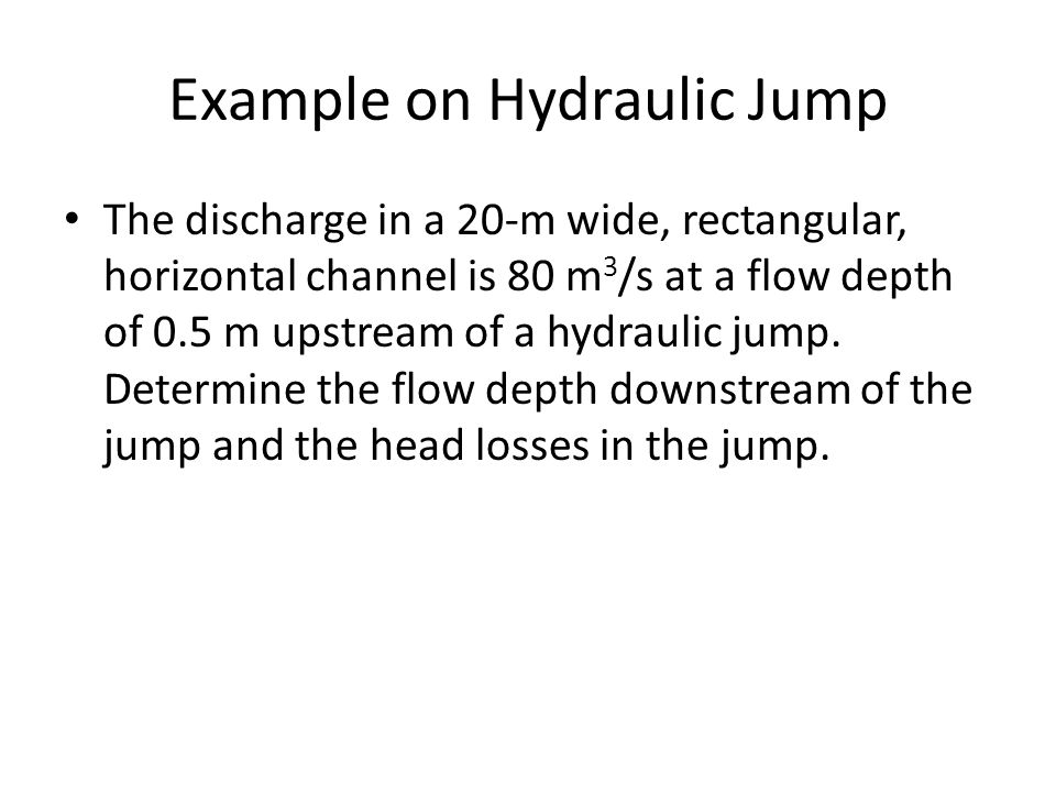 Example on Hydraulic Jump